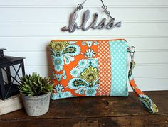 Large Gadget Bag  Orange and Aqua Paisley Kindle by dottedbliss