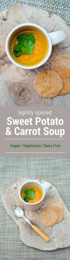 A creamy soup with the sweetness of sweet potatoes and carrots, balanced with the warmth of spices. Easy to make, nutritious and tasty. Suitable for dairy free, vegan and vegetarian diets. http://www.tinnedtomatoes.com