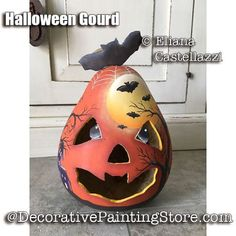 Decorative Gourds, Hand Painted Gourds, Painted Pumpkins, Halloween Gourds, Fall Halloween, Halloween Crafts, Halloween Ornaments, Halloween Ideas, Christmas Ornaments