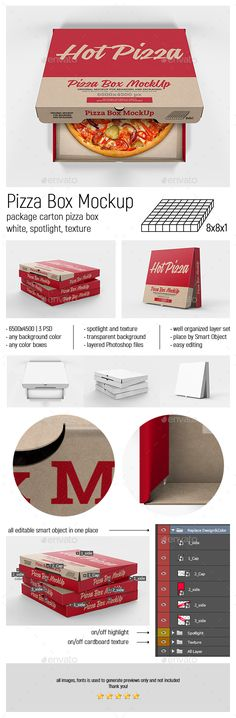 Pizza Box Mockup by tirapir Pizza box mockup for branding and packaging. Usage of this set is very easy  just edit Smart Objects, place your design and save.