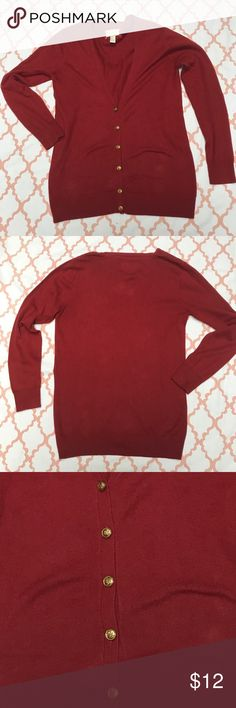 """Red grandpa cardigan with gold buttons A very nice red cotton, nylon, and angora sweater with gold buttons. In good condition with no holes, or stains. Is a soft and cozy lighter sweater. Measurements: Bust 39"""" Length 28.5"""" Forever 21 Sweaters Cardigans"""