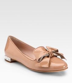 Bow Patent Leather Jewel Smoking Slippers