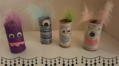 Toilet Paper Roll Monsters - Halloween Craft for Kids - Toilet Paper Roll Crafts, Easy Paper Crafts, Fun Crafts, Arts And Crafts, Crafts From Recycled Materials, Pinterest Projects, Halloween Crafts For Kids, Crafty Kids, Fun Activities For Kids