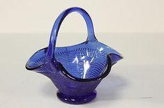 "Cobalt Blue Glass Basket W/ Woven Weave Design Applied Handle Ruffle Edge 6"" T"