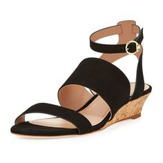 Tory Burch North Suede LowWedge Sandal ($138) ❤ liked on Polyvore featuring shoes, sandals, black, mid heel, black ankle strap sandals, ankle strap shoes, strap sandals, black cork wedge sandals and black strap sandals