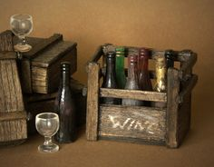 Vintage Styled  Miniature Box of Wine Bottles for Your Dollhouse by DinkyWorld on Etsy https://www.etsy.com/listing/184725177/vintage-styled-miniature-box-of-wine
