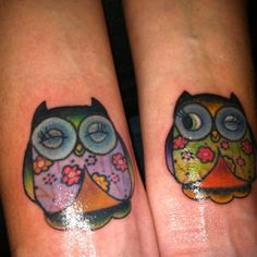 love the colour scheme blinking winking owl tattoo paisley flowers