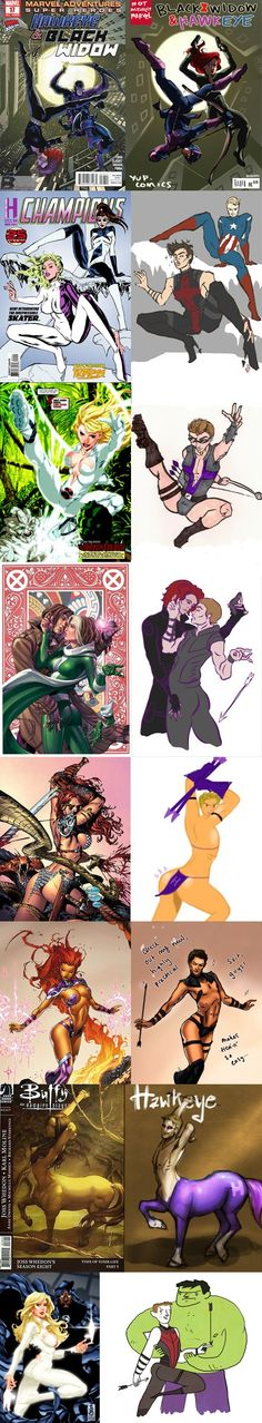 The Hawkeye Initiative:  It started with the top image. An artist called Blue posted a drawing of a Black Widow and Hawkeye cover with the poses swapped. Blue then issued a challenge to other artists: replace the female characters in other comics with Hawkeye. These are just a few examples of what happened next.