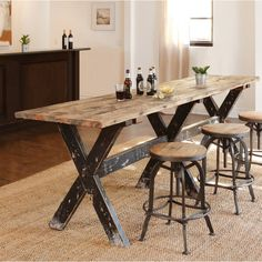 dining table decor and dining tableHandcrafted of reclaimed wood, this rugged and beautiful gathering table is highly functional with resounding style. Farmhouse Table, Narrow Dining Tables, Rustic Dining Table, Dining Room Table, Furniture, Kitchen Furniture, Gathering Table, Home Decor, Dining Table