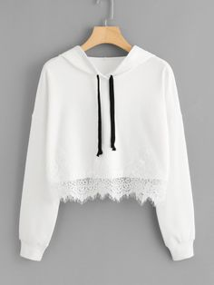 Shop Lace Hem Drop Shoulder Hoodie at ROMWE, discover more fashion styles online. Girls Fashion Clothes, Teen Fashion Outfits, Girl Fashion, Cute Comfy Outfits, Stylish Outfits, Cool Outfits, Trendy Hoodies, Vetement Fashion, Crop Top Outfits