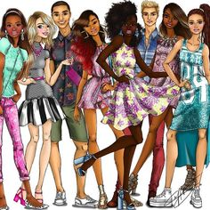 Some of the #Fashionistas Barbies and Kens I designed for 2015 and 2016. I'm really proud to be part of the #Barbie brand's push for #diversity and inclusion. - @carlylenuera