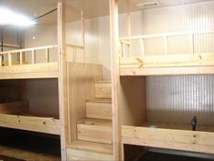 DIY bunk beds. I like the stairs instead of a ladder since the little one is…
