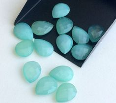 7 Pcs Aqua Blue Chalcedony Faceted Pear Double by gemsforjewels