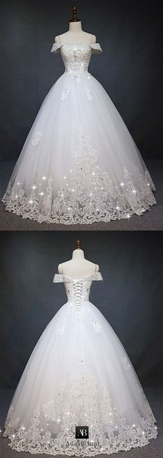 Gorgeous Tulle Off-the-Shoulder Neckline Ball Gown Wedding Dress With Lace Appliques & Beadings - Bridal Gowns Perfect Wedding Dress, Dream Wedding Dresses, Bridal Dresses, Wedding Gowns, Tulle Wedding, Wedding Gown Ballgown, Gold Wedding, Bridesmaid Dresses, Quinceanera Dresses