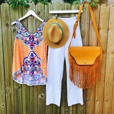 Summer is here! ☀️ Rock the Under The Sun Tank ($19.99) Hat ($9.99) Large Fringe Bag ($42.99) all in store at #4thandocean and online! // #sophieandtrey #fashion #ootd #summer #inspo #fashion