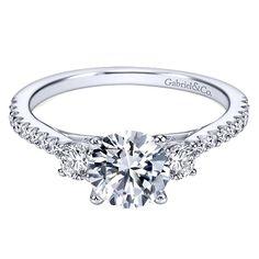 Chantal 14k White Gold Round 3 Stones Engagement Ring angle 1