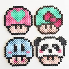 Mushrooms hama beads by Molly & Selma Perler Bead Designs, Perler Bead Templates, Hama Beads Design, Diy Perler Beads, Hama Beads Patterns, Pearler Beads, Beading Patterns, Peyote Patterns, Art Minecraft