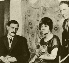Artist Suzanne Valadon and her cat Raminou (?) with Maurice Utrillo (left) and André Utter (1919)