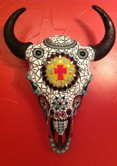Mosaic Buffalo Skull. $600.00, via Etsy.