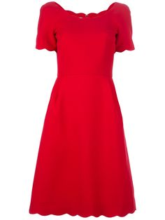 Valentino $2214 Red silk and wool mix dress from Valentino featuring a round neck, short sleeves, a concealed zip fastening to the back and scallop detailing to the neckline, cuffs and hem.
