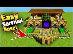 Minecraft how to build an easy ultimate 2 player survival starter base! Teaching you how to build in Minecraft - Creative building Tips and tricks. Video Minecraft, Minecraft Farm, Minecraft Plans, Minecraft Survival, Minecraft Construction, Amazing Minecraft, Minecraft Bedroom, Minecraft Tutorial, Minecraft Stuff