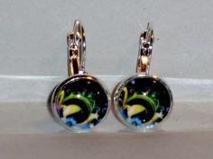 Ohrringe Kreis Stern Modeschmuck handgefertigt Ohrschmuck Damen Hänger Glas Neuware