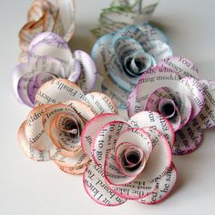 Paper rose tutorial, rub edges with the side of a chalk or crayon for added color.