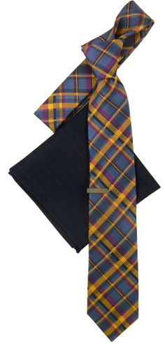 Since neon colors are a hot trend for spring, let our wearable Stealth Plaid tie in slate blue and mango do the talking. www.TheTieBar.com