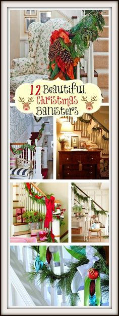 12 Beautiful Staircases To Sneak Down on Christmas Eve 12 Beautiful Christmas Banisters by Between Naps on the Porch. Merry Little Christmas, Christmas Love, Beautiful Christmas, Winter Christmas, All Things Christmas, Christmas Crafts, Christmas Ideas, Holiday Ideas, Cottage Christmas