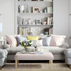 Family living room design ideas that will keep everyone happy Pastel Living Room, Living Room Colors, Living Room Grey, Living Room Designs, Living Room Decor, Living Rooms, Wall Behind Couch, Living Room Storage, Furniture Arrangement