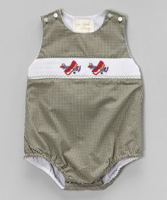 Another great find on #zulily! Gray Gingham Airplane Smocked Bubble Bodysuit - Infant #zulilyfinds