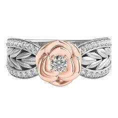 😍😍😍 Disney Enchanted 1/4 ct. tw. Diamond Belle Rose Ring in Sterling Silver & 10K Rose Gold