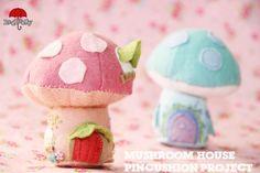 {d.i.y tutorial} Felt Fairy Mushroom house Pincushion project - Red Brolly