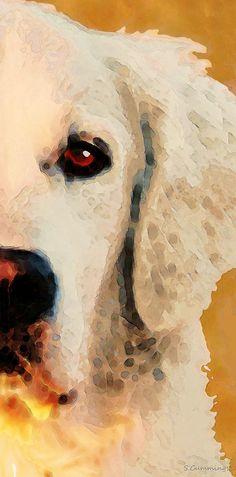 Golden Retriever Half Face By Sharon Cummings Painting