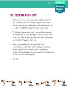 Decline Push Ups Bikini Body Guide, Kayla Itsines, Bbg, Bikini Workout, Bikini Bodies, Push Up, Bikinis, Exercises, Health