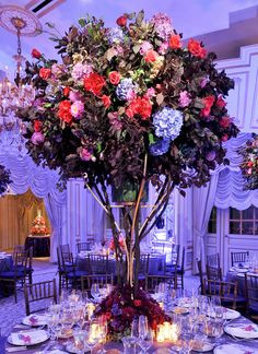 Preston Bailey wedding flower centerpieces