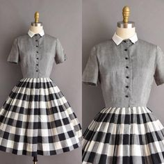 """Gefällt 355 Mal, 2 Kommentare - SimplicityIsBliss Vintage (@sibvintage) auf Instagram: """"New today! Vintage 1950s cotton plaid full skirt dress 
