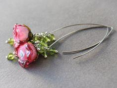 Lampwork Earrings  Rubu Glass Roses by JewelryBeadsByKatie on Etsy