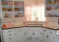 vintage original condition 1940 home house Phoenix Arizona cabinets kitchen & kitchen - subway tile from counter to cabinets | Home | Pinterest ...