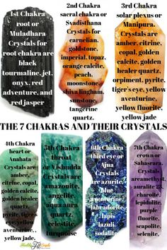 Seven Chakras, their crystals and essential oils. In Ayurveda, chakra refers to wheels of energy throughout the entire body. Ayurvedic medicine refers to illness as an energy blockage caused by one or more of the chakras. Ayurveda, Chakra Meditation, Chakra Healing, Meditation Music, Mindfulness Meditation, Chakra Crystals, Crystals And Gemstones, Chakra Stones, Reiki Frases
