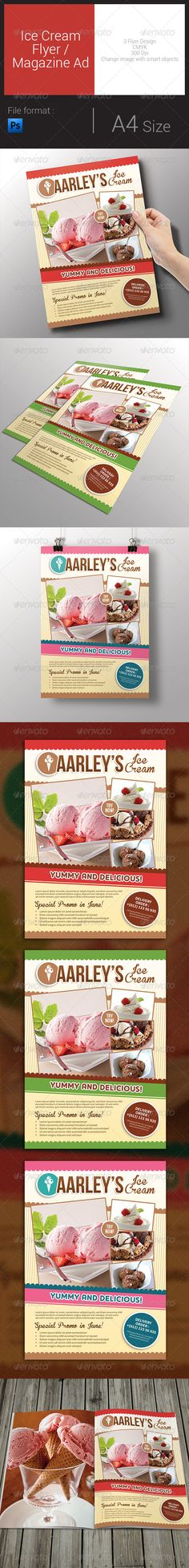 Ice Cream Flyer Template PSD | Buy and Download: http://graphicriver.net/item/ice-cream-flyer-magazine-ad/8016828?WT.ac=category_thumb&WT.z_author=arifpoernomo&ref=ksioks