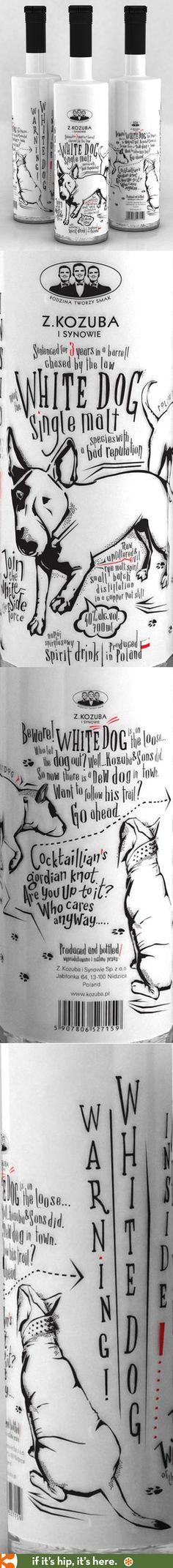 Fun bottle design for White Dog Single Malt.