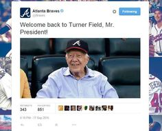 Former President Jimmy Carter continues his string of public appearances on Thursday by attending an Atlanta Braves baseball game with his wife, and the good-spiritedformer Commander-in-Chief enjo...