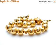 Sale Gold Bead Necklace Whiting & Davis by TheJewelryLadysStore