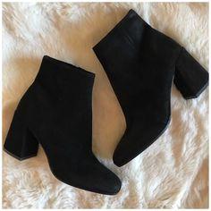 #black #shoes #heels #boots Vince Shoes | Vince Black Suede Heeled Boot | Color: Black | Size: 7.5