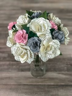 A personal favorite from my Etsy shop https://www.etsy.com/listing/583909881/paper-flowers-paper-bouquet-book-page