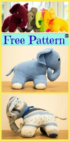 This Crochet & Knit Amigurumi Elephant is a project that we have been waiting to show you. Animal Knitting Patterns, Stuffed Animal Patterns, Amigurumi Patterns, Amigurumi Toys, Crochet Giraffe Pattern, Elephant Pattern, Crochet Patterns, Crochet Elephant, Knitted Dolls