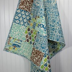 Organic Modern Baby Boy Quilt Beach Surfer Waves by camnlulu