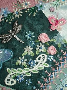 I ❤ crazy quilting . . . My Crazy Patch Block 027- I was 'bead-dazzled' after sewing the August 'cupcakes'