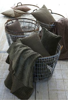 ZsaZsa Bellagio: Earthy, Rustic, Glam take metal trash bin, antique the metal, add rope/twine around top and handles